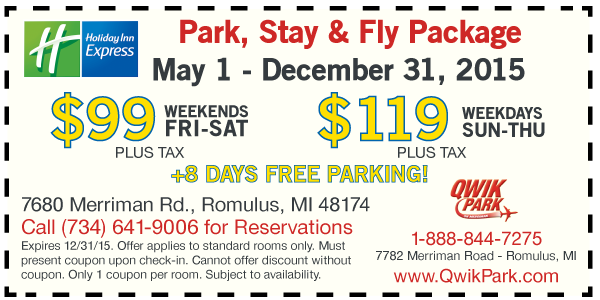 DETROIT METRO AIRPORT PARKING HAS NEVER BEEN EASIER! Perfect for families, Park, Stay, Fly packages include your hotel room, secure parking at Qwik Park DTW, deluxe continental breakfast served daily, and complimentary 24 hour shuttle service to the Detroit Metro Airport.
